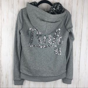 Victoria secret Pink gray leopard lined sweatshirt